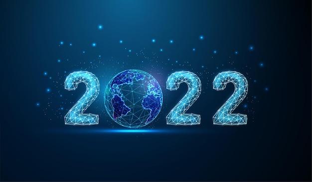 Cartão abstrato feliz ano novo de 2022 com o planeta