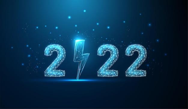Cartão abstrato feliz ano novo de 2022 com vetor de estilo low poly relâmpago