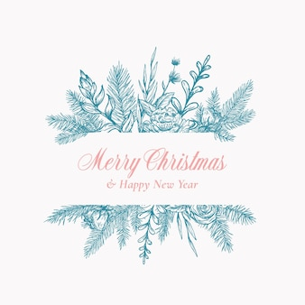 Cartão abstrato feliz natal logotipo botânico ou cartão com banner de moldura