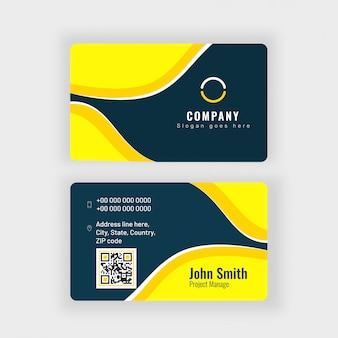 Cartão abstrato ou cartão de visita na frente e vista traseira.