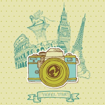 Cartão adorável - câmera vintage com arquitetura europeia