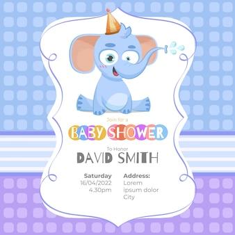 Cartão adorável do chuveiro de bebê com um elefante