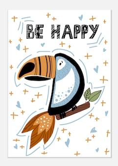Cartão africano do pássaro (tucano)