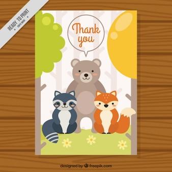 Cartão agradável amigos animais