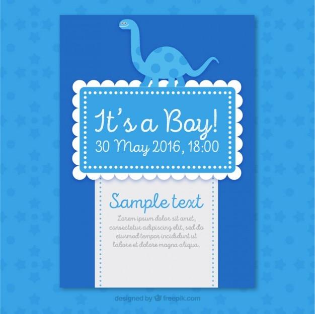 Cartão agradável chá de fraldas azul com um dinossauro