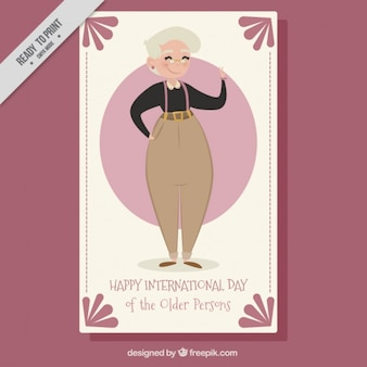 Cartão agradável dia internacional de pessoas mais velhas