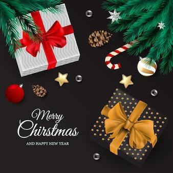 Cartão alegre chirstmas e feliz ano novo