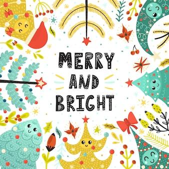Cartão alegre e brilhante com bonitos árvores de natal
