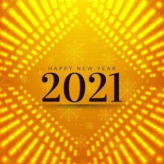 Cartão amarelo brilhante de feliz ano novo 2021
