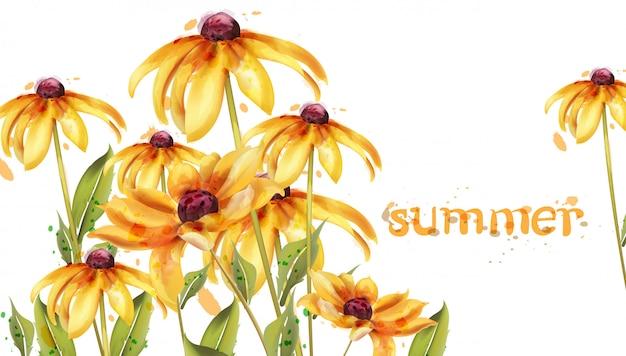 Cartão amarelo da aguarela das flores