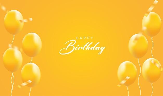 Cartão amarelo de feliz aniversário