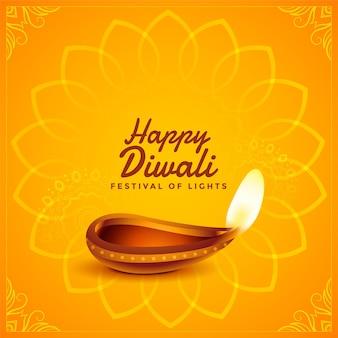 Cartão amarelo decorativo de diwali feliz com diya realista