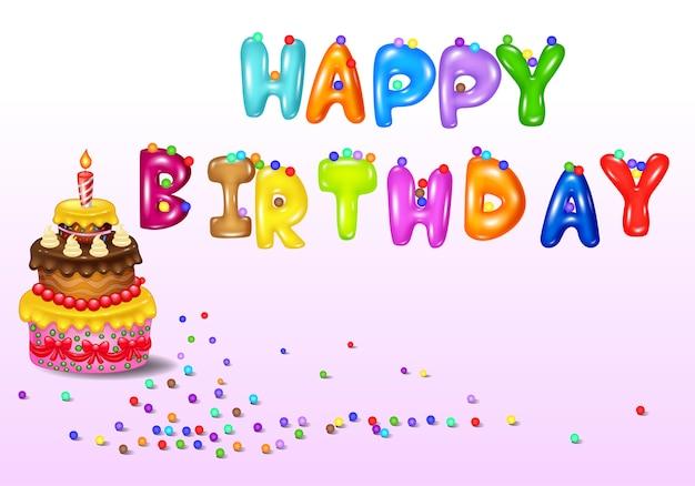 Cartão aniversário, com, bolo aniversário
