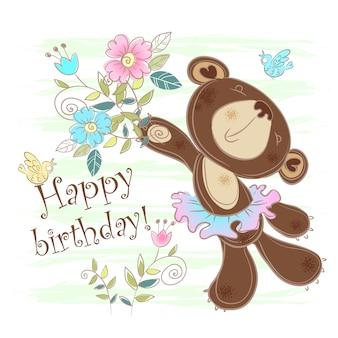Cartão aniversário, com, um, cartão urso