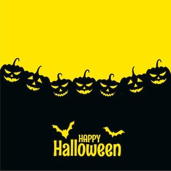 Cartão assustador de feliz dia das bruxas com morcegos e abóbora
