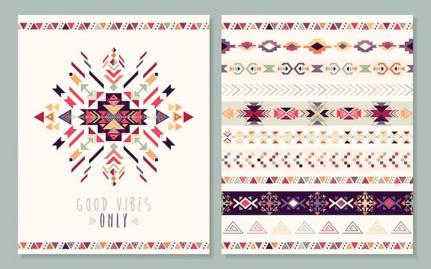 Cartão asteca com elementos geométricos,