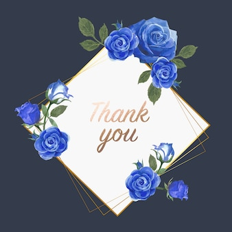 Cartão azul aquarela flores rosa