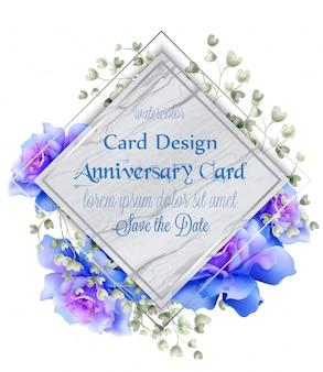 Cartão azul da aguarela das rosas