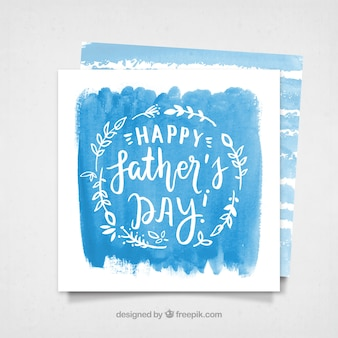 Cartão azul da aguarela do dia dos pais