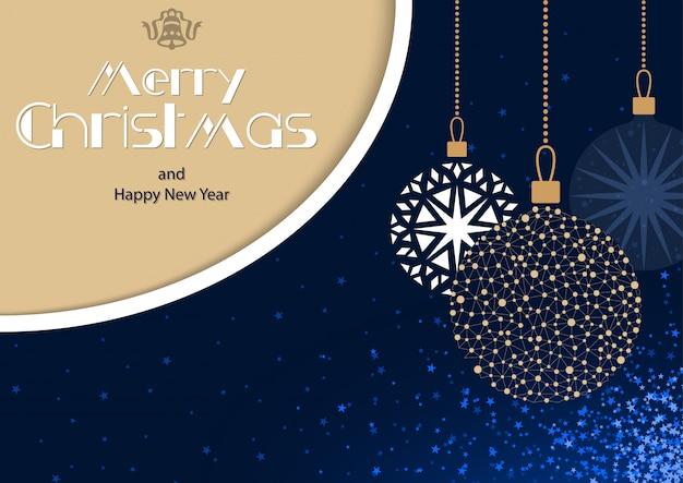 Cartão azul de feliz natal com enfeites pendurados
