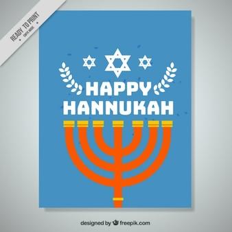 Cartão azul de hanukkah com candelabro