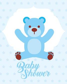 Cartão azul do convite do chá de fraldas do urso