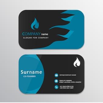 Cartão azul e preto