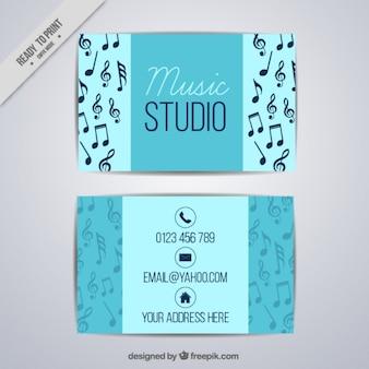 Cartão azul para um estúdio de música