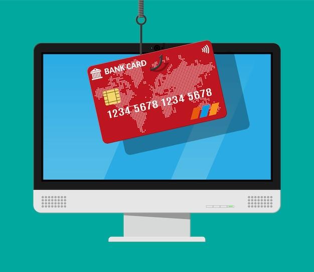 Cartão bancário e anzol.
