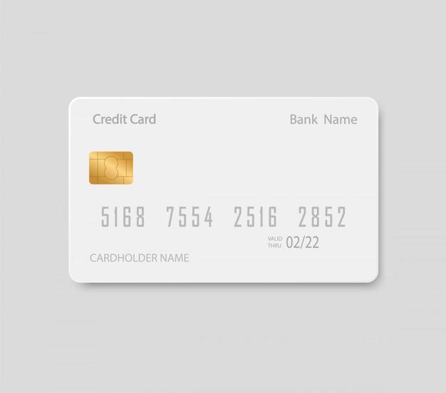 Cartão bancário simulado acima. cartão de crédito em plástico.