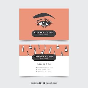 Cartão beautician com esboços