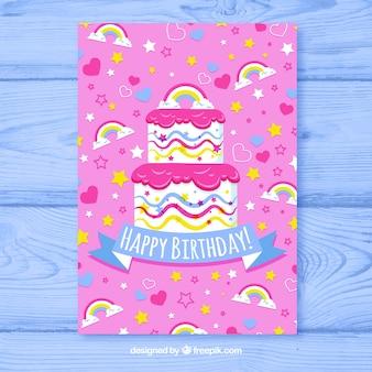 Cartão birhtday com bolo colorido em estilo desenhado à mão