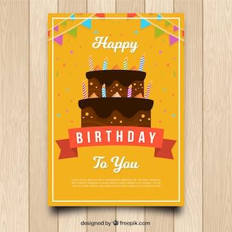 Cartão birhtday com bolo em estilo plano