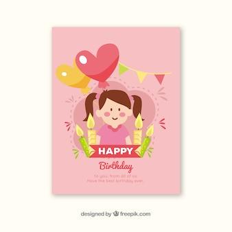 Cartão birhtday com menina e balões em estilo desenhado à mão
