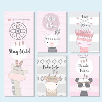 Cartão boho bonito coleção para criança