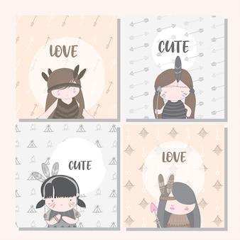 Cartão boho de coleção linda garota para criança