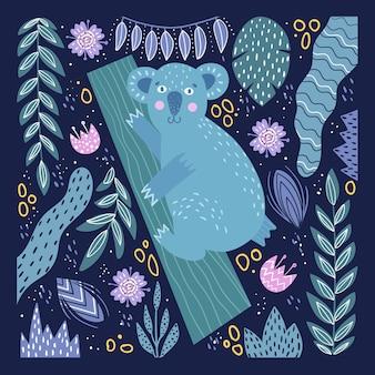 Cartão bonito com coala em um fundo com plantas tropicais.