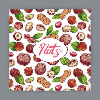 Cartão bonito com nozes e folhas. ilustração desenhada à mão