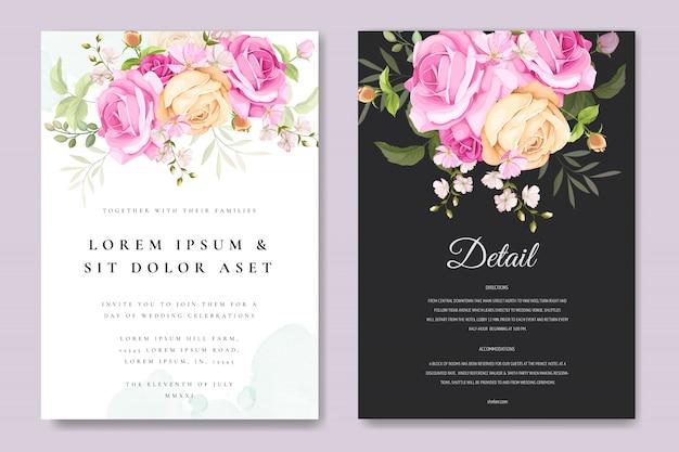 Cartão bonito convite com modelo floral e folhas colorido
