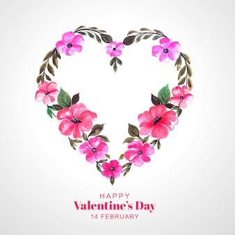 Cartão bonito coração decorativo flor