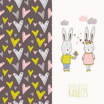Cartão bonito de dois coelhos dos desenhos animados e teste padrão sem emenda.