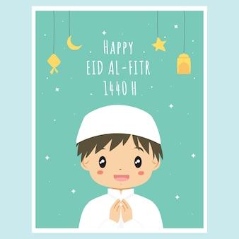 Cartão bonito de ramadan eid al fitr. vetor de cartão muçulmano menino ramadan