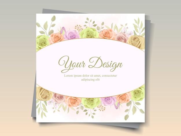 Cartão bonito desenhado à mão com tema floral