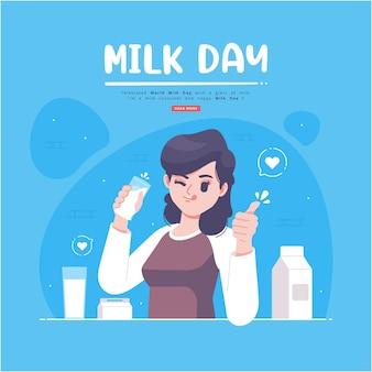 Cartão bonito desenhado à mão para o dia do leite
