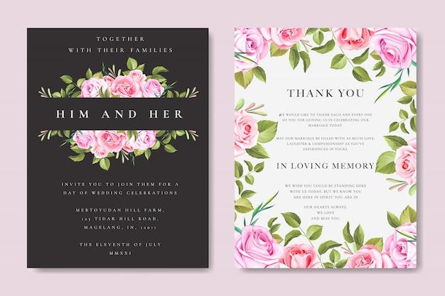 Cartão bonito do casamento e do convite com quadro floral e das folhas