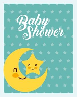 Cartão bonito do chuveiro de bebê do fundo dos pontos da lua e da estrela