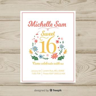 Cartão bonito do convite do décimo sexto aniversário