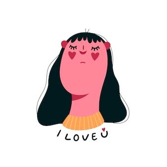 Cartão bonito do dia dos namorados com a mulher apaixonada isolada. eu amo você letras.