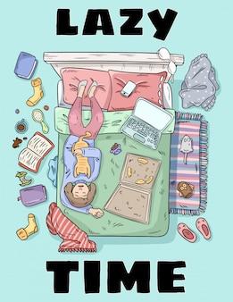 Cartão bonito do estilo dos desenhos animados do tempo preguiçoso.