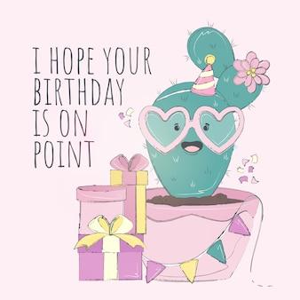 Cartão bonito do feliz aniversario do cacto